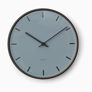 Royal Blue & Anodised Aluminium Royal City Hall Wall Clock by Arne Jacobsen, 1970s