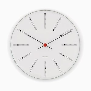 White Bankers Wall Clock by Arne Jacobsen, 1970s