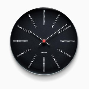Black Bankers Wall Clock by Arne Jacobsen, 1970s
