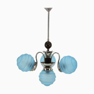 Art Deco Blue Chandelier, 1930s