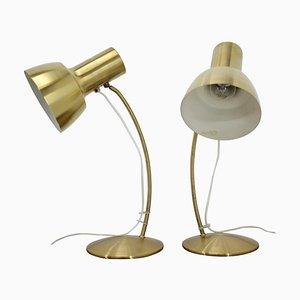 Goldene Tischlampen von Napako, 1960er, 2er Set