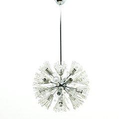 Lampadario Dandelion in vetro e placcato in cromo di Emil Stejnar, anni '60