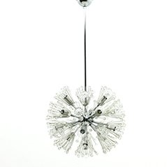 Lámpara de araña Dandelion de vidrio y cromado de Emil Steijnar, años 60