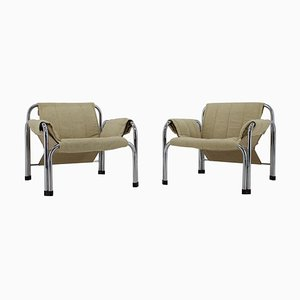 Mid-Century Chrome Armchairs by Viliam Chlebo, 1980s, Set of 2