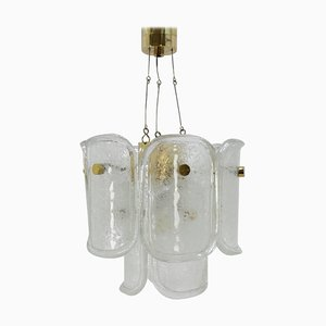 Mid-Century Brass and ice Glass Chandelier from J.T. Kalmar, 1960s