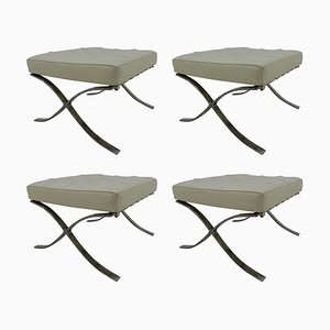 Vintage Barcelona Footstools by Ludwig Mies van der Rohe, 1980s, Set of 4