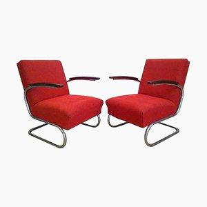 Verchromte Bauhaus Armlehnstühle von Thonet, 1930er, 2er Set