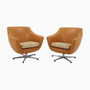 Vintage Leatherette Swivel Chairs, 1970s, Set of 2