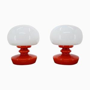 Vintage Opalglas Tischlampen, 1970er, 2er Set