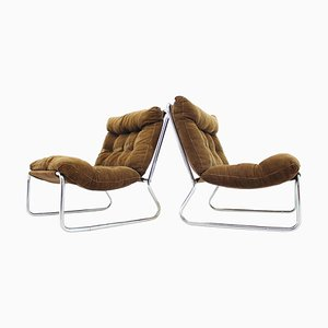 Mid-Century Chrome Lounge Chairs, 1960s, Set of 2