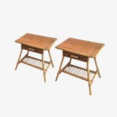 Mesas auxiliares vintage de ratán. Juego de 2