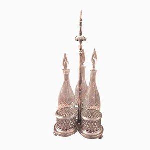 Vintage Flaschenhalter aus Metall & Silber