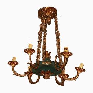 Vintage Bronze Kronleuchter im Empire Stil