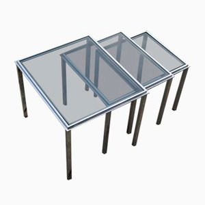 Vintage Chrome-Plated Steel & Smoked Glass Nesting Tables