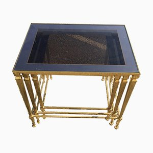 Vintage Gilt Bronze & Agglomerated Glass Nesting Tables