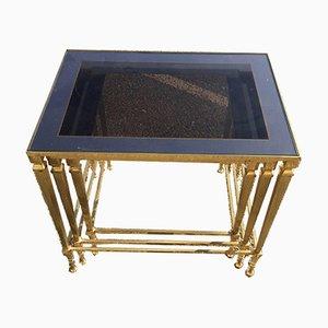 Vintage Satztische aus vergoldeter Bronze & Glas in Agglomerat-Optik
