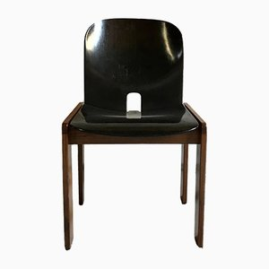 Lacquered Walnut Model 121 Dining Chairs by Tobia & Afra Scarpa for Cassina, 1967, Set of 4