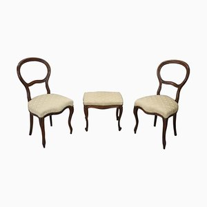 Antique Walnut Dining Chair & Stool, Set of 3