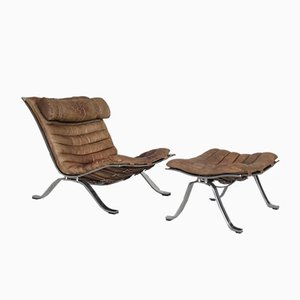 Mid-Century Swedish Cognac Leather Ari Lounge Chair and Ottoman Set by Arne Norell for Norell AB, 1960s