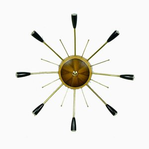 Sputnik Brass, Wood & Plastic Ceiling Lamp, 1950s