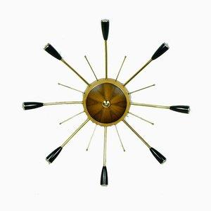 Sputnik Deckenlampe aus Messing, Holz & Kunststoff, 1950er