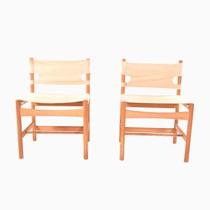 Model 3251 Safari Chairs by Børge Mogensen for Fredericia, 1960s, Set of 2