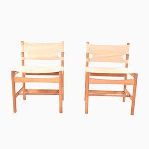 Modell 3251 Safari Stühle von Børge Mogensen für Fredericia, 1960er, 2er Set