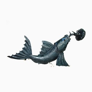 Iron Sculptural Koi Fish Sconce, 1950s