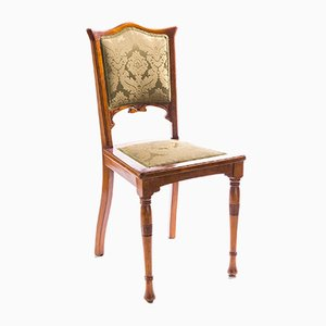 Antique Art Nouveau Beech, Mahogany & SIlk Jacquard Dining Chairs, 1890s, Set of 2