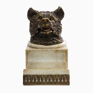 Inkwell & Gilded Bronze Bear Sculpture, 1920s