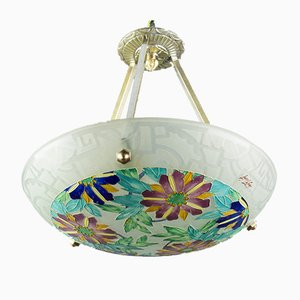 Art Deco Enameled Polychrome Glass Pendant Chandelier from Loys Lucha, 1930s