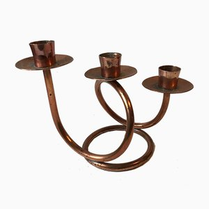 Danish Modernist Copper Spiral Candleholder, 1970s