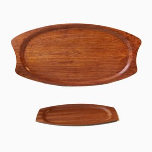 Large & Small Teak Veneer Serving Trays from Silva, 1960s, Set of 2