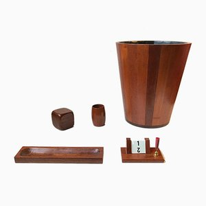 Mid-Century Danish Teak Desk Set with Waste Basket, Set of 5
