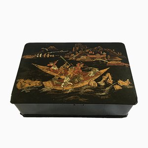 Large Antique Napoleon III Japanese Decorated Box