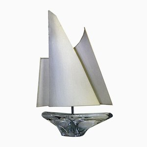 Mid-Century Crystal Sailboat Table Lamp by Jean Daum for Daum France