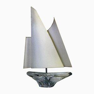 Mid-Century Kristallglas Segelboot Tischlampe von Jean Daum für Daum France