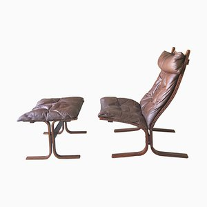 Norwegian Brown Leather Lounge Chair and Footrest Set by Ingmar Relling for Westnofa, 1970s