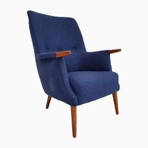 Dänischer Armlehnstuhl aus Teak & Wolle mit Hoher Rückenlehne von PMJ Viby, 1960er