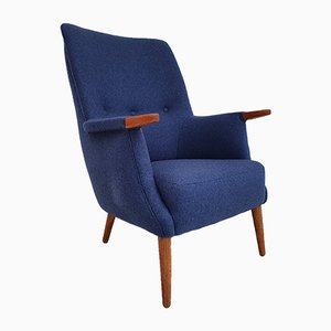 Danish Teak & Wool High Back Armchair from PMJ Viby, 1960s