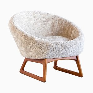 Sheepskin Model 75A Lounge Chair by Kurt Østervig for Rolschau Møbler, 1958