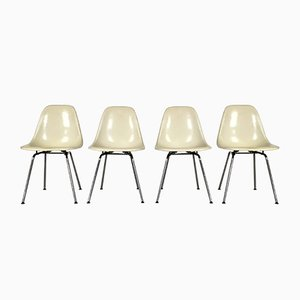 Fiberglass DSW Side Chairs by Charles & Ray Eames for Herman Miller, 1980s, Set of 4