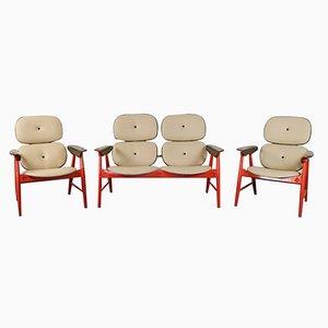 Mobilier de Salon Orange de Poltronova, 1970s, Set de 3