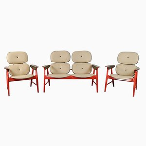Orange Living Room Set from Poltronova, 1970s, Set of 3
