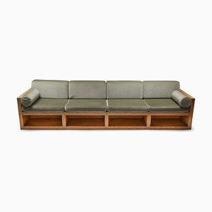 Mid-Century Modern PIne & Velvet Sofa, 1960s