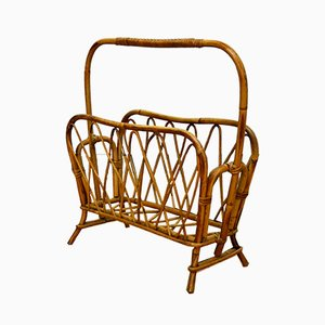 Italian Wicker & Bamboo Magazine Rack, 1960s