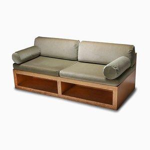 Pine & Velvet Loveseat Sofa, 1960s