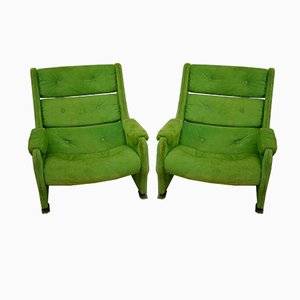 Italian Space Age Suede Armchairs, 1970s, Set of 2