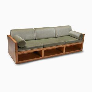 3-Sitzer Sofa aus Samt & Kiefer, 1960er