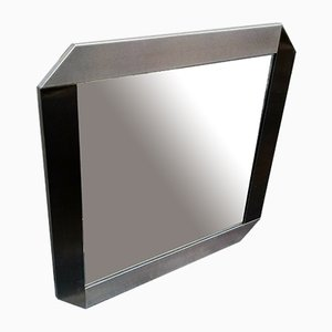 Vintage Brushed Aluminum Mirror by Gaetano Sciolari for Valenti Luce, 1970s